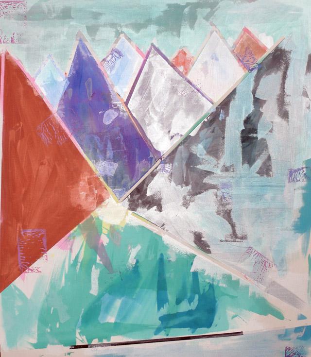 Untitled, 2008, acrílico, colagens e pigmentos sobre tela de algodão, 193x176 cm
