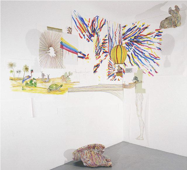 Long distance call #3, Tinta s/ papel, cabeça de javali, fibra de vidro, 300x300x200 cm