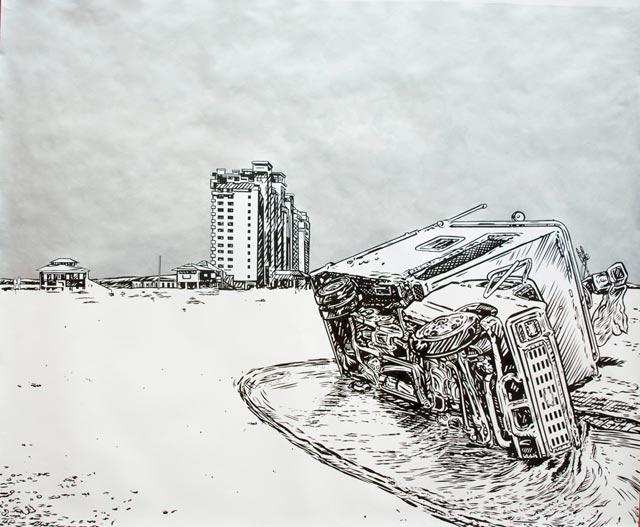 Chevy - GMC, 2007, tinta da china e acrílico sobre papel, 142x173 cm