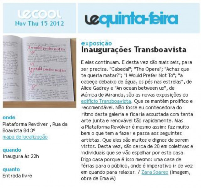 Le Cool, 15 Novembro 12